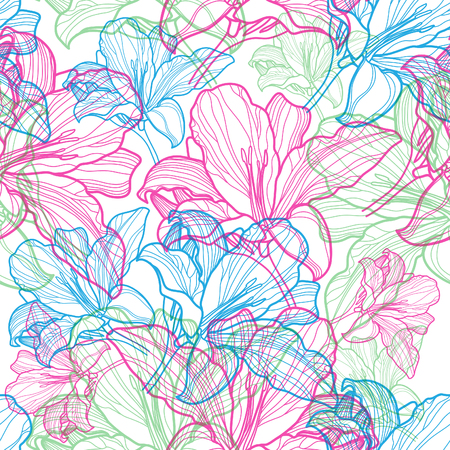 hand silhouette: Seamless vector floral pattern with colorful flowers