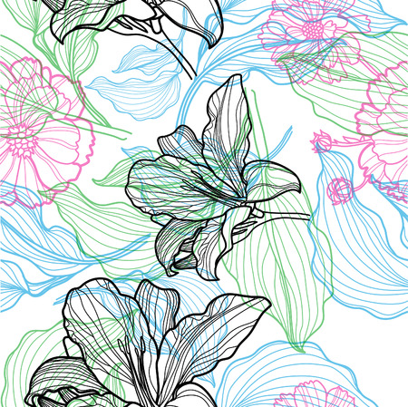 freehand: Seamless vector floral pattern with colorful flowers in lines