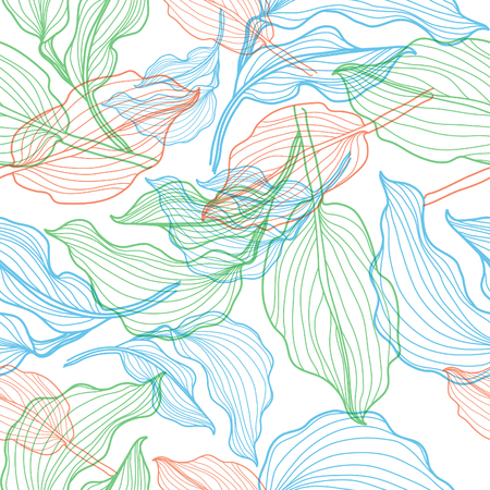 botanics: Seamless vector floral pattern with colorful flowers in lines