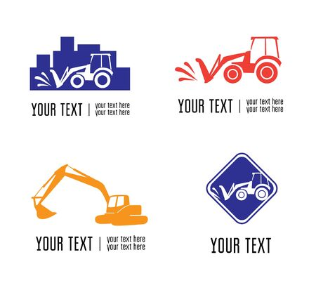 construction firm: Set of vector excavate and building icons Illustration