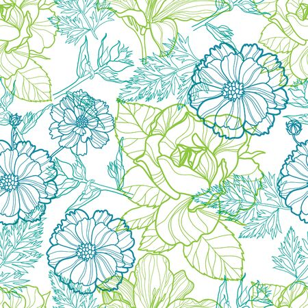 neon plant: Seamless vector floral pattern with colorful flowers
