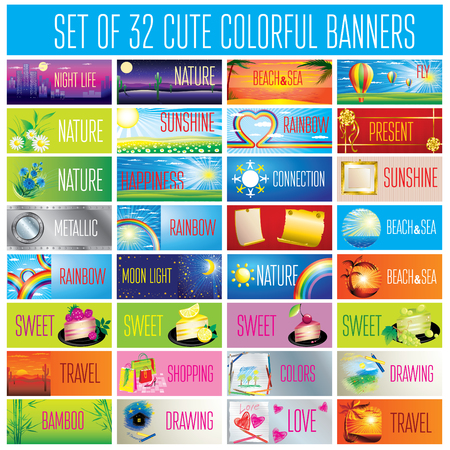 titles: Vector set of design elements - 32 cute backgrounds Illustration
