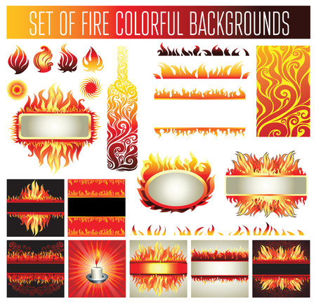 whirling: Big set of frame backgrounds and design elements with fire