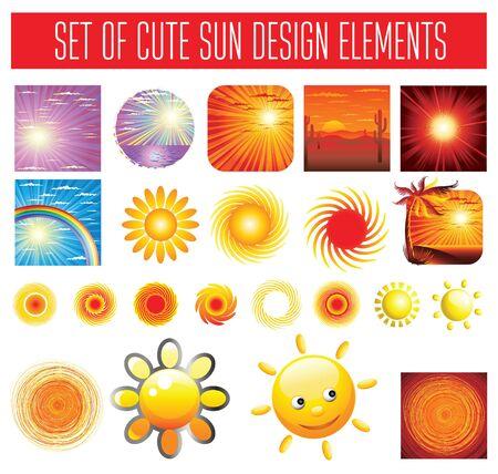 seacoast: set of sun backgrounds and symbols