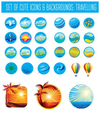 Conjunto de viajes de brignt y vacaciones de iconos. Puede utilizarse para agencias de viaje Ilustración de vector