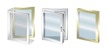 double glazing: technical illustration with element of window - glass
