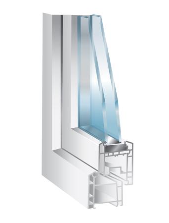 finestra: illustrazione tecnica con elemento di finestra - vetro