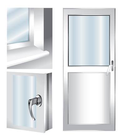 ilustración técnica con el elemento de la ventana - cristal