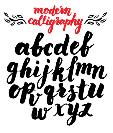 glyphs: Vector handmade modern calligraphy Roman alphabet script - drawn by ink and brush Illustration