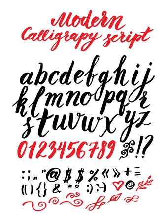 roman alphabet: Vector handmade modern calligraphy Roman alphabet script - drawn by ink and brush Illustration
