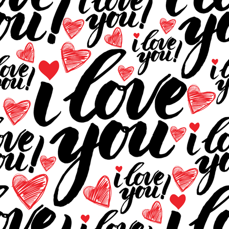 graft: Vector handwritten calligraphy seamless pattern with sign LOVE