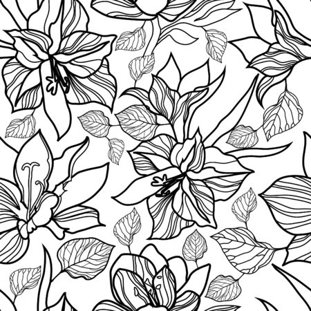 Vector seamless floral pattern, freehand drawing - flowers and leafs Illustration