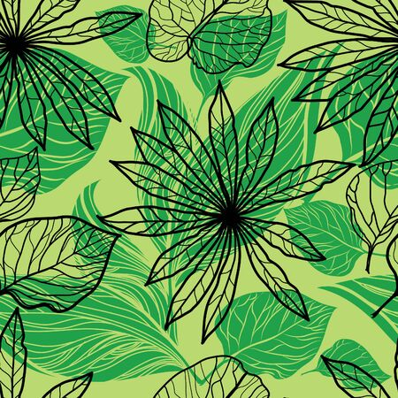 neon plant: Vector seamless floral pattern, freehand drawing - flowers and leafs Illustration