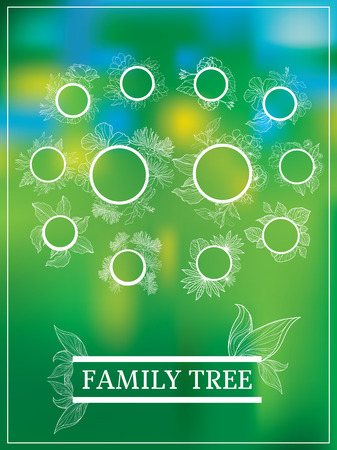 family gardening: Vector family tree design with frames and autumn leafs. Place for text. Illustration