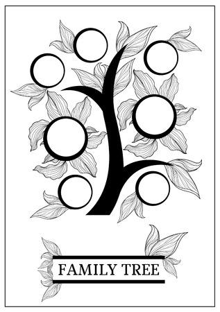 arbol genealógico: Diseño del árbol genealógico de vector con marcos y otoño hojas. El lugar de texto.