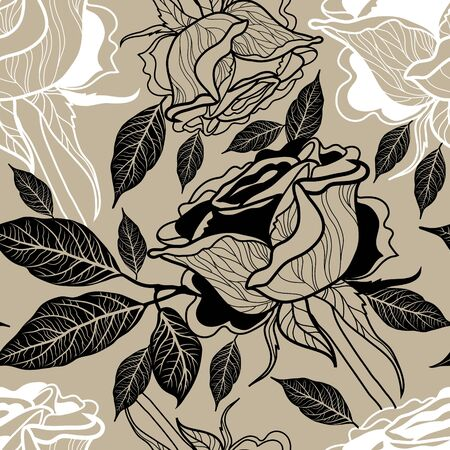 freehand: Vector seamless floral pattern, freehand drawing - rose flowers and leafs