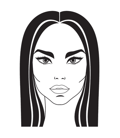 amative: Vector portrait of beautiful woman with long hair Illustration