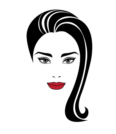hairdress: Vector portrait of beautiful woman with long hair Illustration