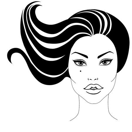 perfil de mujer rostro: Vector el retrato de la mujer hermosa con el pelo largo