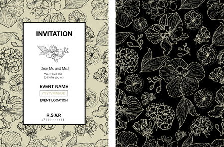 seamless floral pattern: Vector floral invitation for events design with different flowers