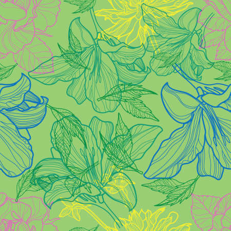 freehand: Vector seamless vintage floral pattern, freehand drawing - with rose flowers and leafs