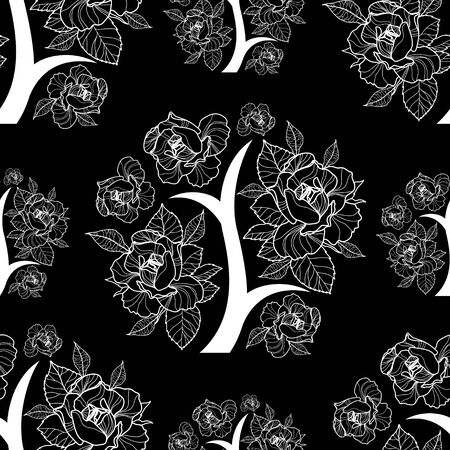 botany: Vector seamless floral pattern, freehand drawing - flowers and leafs Illustration