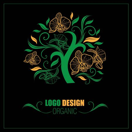 botany: Vector design elements for organic natural logos Illustration