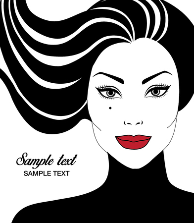 Vector closeup portrait of beautiful woman with long hair and red lips