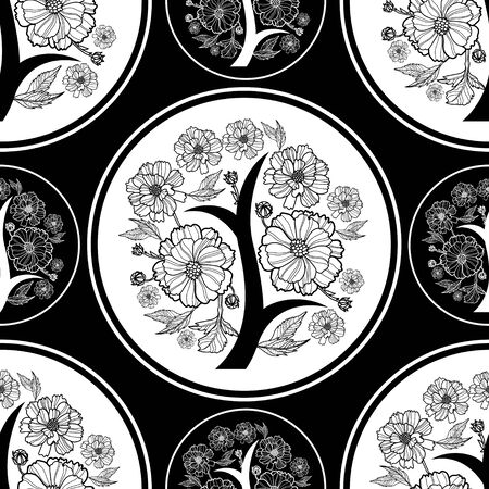 seamless floral pattern: Vector seamless floral pattern, freehand drawing - flowers and leafs Illustration