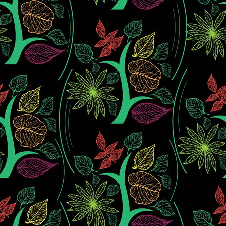 freehand: Vector seamless floral pattern, freehand drawing - flowers and leafs Illustration