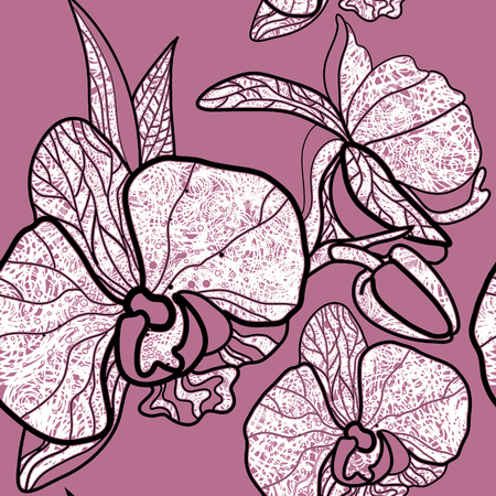 orchid: Vector seamless floral pattern, freehand drawing - orchid flowers and leafs