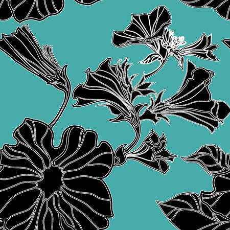 freehand drawing: Vector seamless floral pattern, freehand drawing - flowers and leafs Illustration