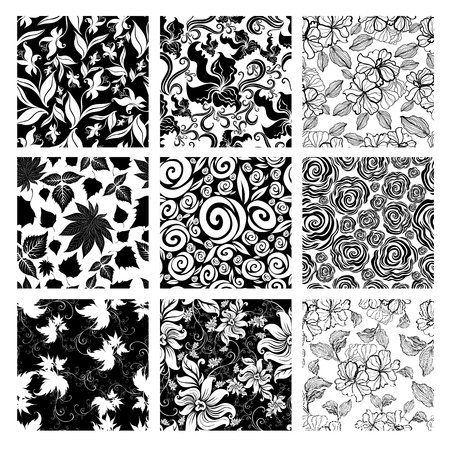 vintage design: Vector set of nine seamless floral patterns with flowers and leafs Illustration