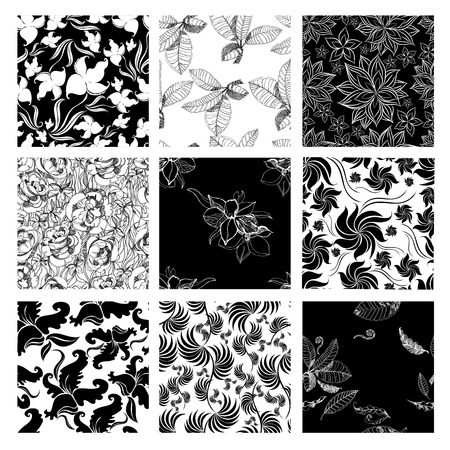 botanics: Vector set of nine seamless floral patterns with flowers and leafs Illustration