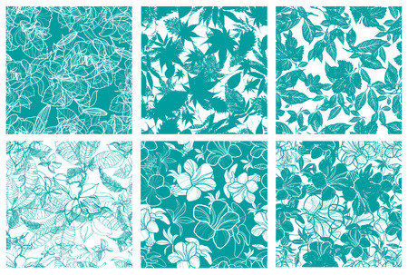 leaf pattern: Vector set of six seamless floral patterns with flowers and leafs