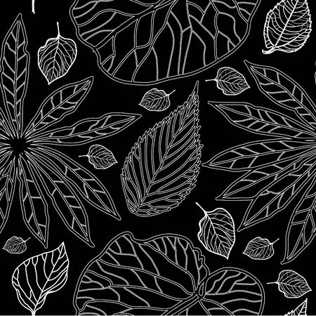 leafs: Vector seamless floral pattern, freehand drawing - flowers and leafs Illustration