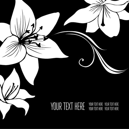 frameworks: Vector stylish black floral background - design elements can be used for invitation, greeting cards