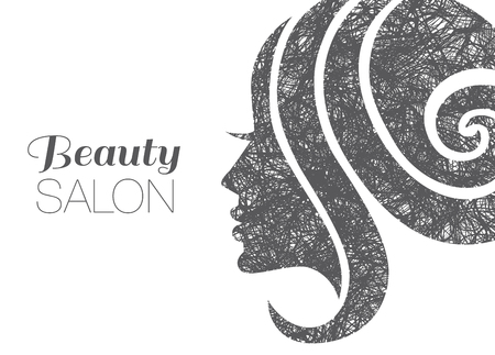 womanish: Illustration of woman with beautiful hair. Background. Can be used for beauty salon