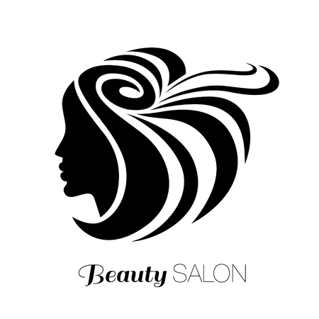 hair beauty: Illustration of woman with beautiful hair - can be used as a logo for beauty salon