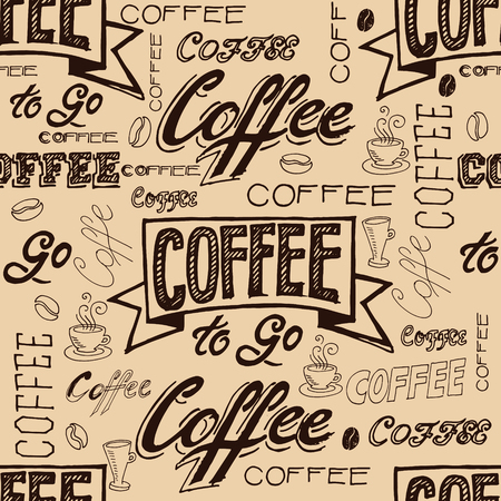 title hands: Vector hand lettering signs COFFEE - seamless pattern