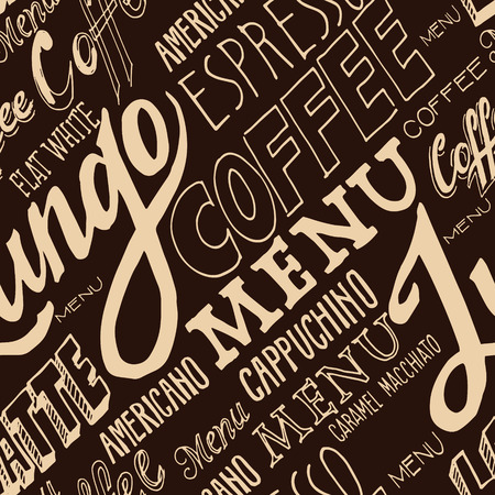 freehand: Vector hand lettering signs COFFEE MENU - seamless pattern