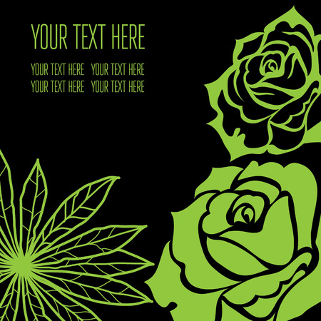 stylish black floral background - design elements can be used for invitation, greeting cards