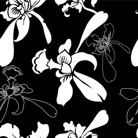 seamless floral pattern from orchids Illustration