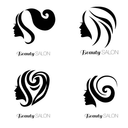 womanish: Illustration set of woman with beautiful hair - can be used as icon for beauty salon