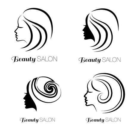 beauty icon: Illustration set of woman with beautiful hair - can be used as icon for beauty salon