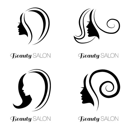 hair style: Illustration set of woman with beautiful hair - can be used as icon for beauty salon