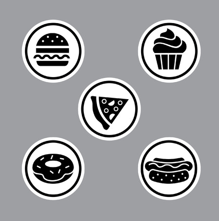 Vector set of fast food icons Illustration