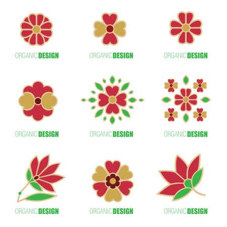 Vector set of design elements - organic natural logos