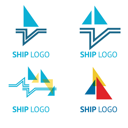 Set of vector logos with yacht on the sea in marine style Illustration