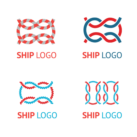 Set of vector logos with sea knot in marine style